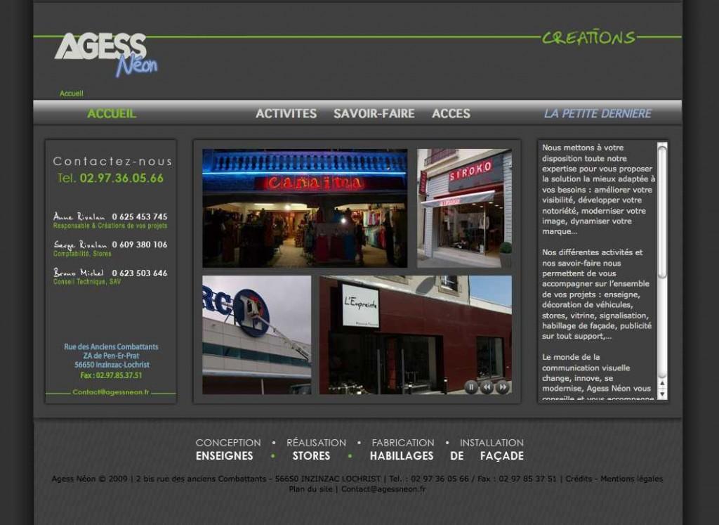 Site Internet - Agess Néon, créateur et installateur d'enseignes en Bretagne