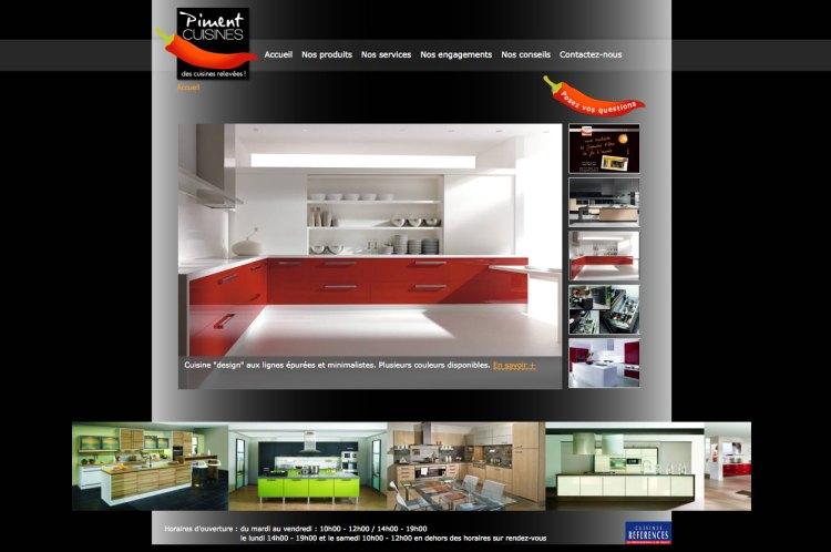 Page d'accueil du site Internet - Piment Cuisines