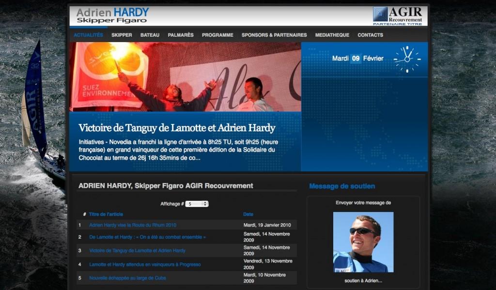 Site Web Adrien Hardy - Skipper Figaro - Agir recouvrement
