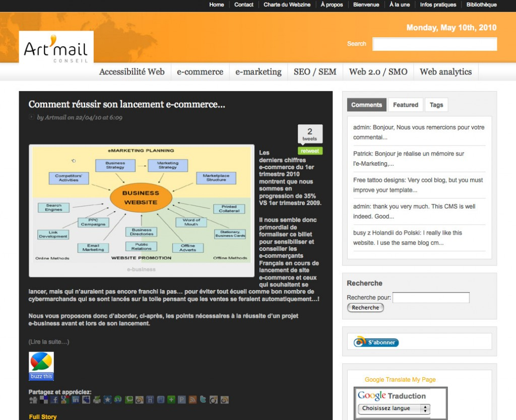 Nouveau design Webzine Art'mail