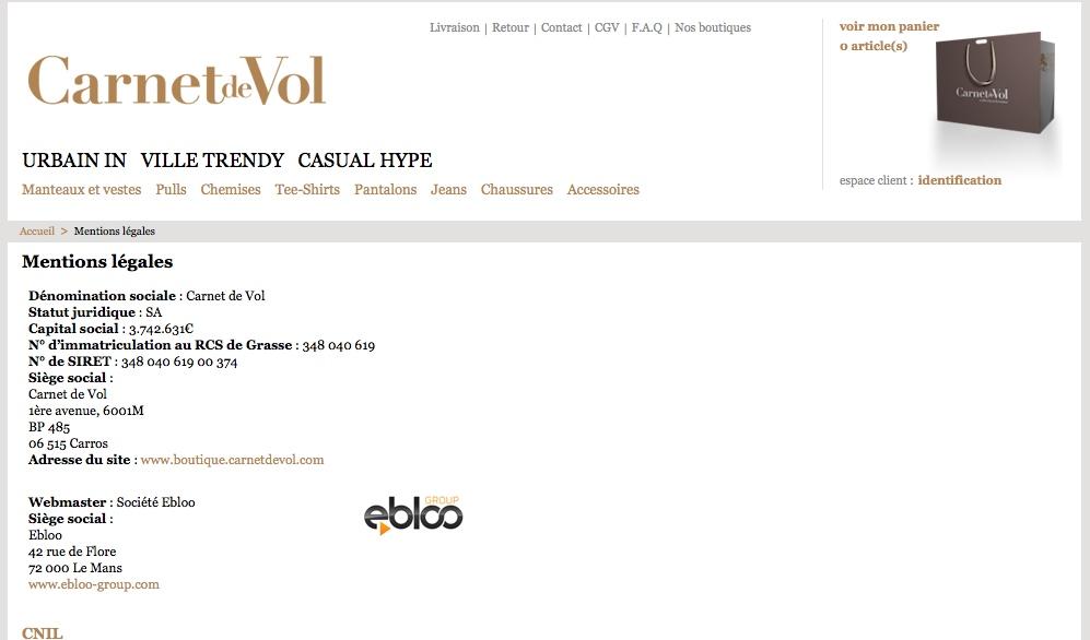 mentions légales e-boutique Carnet de Vol