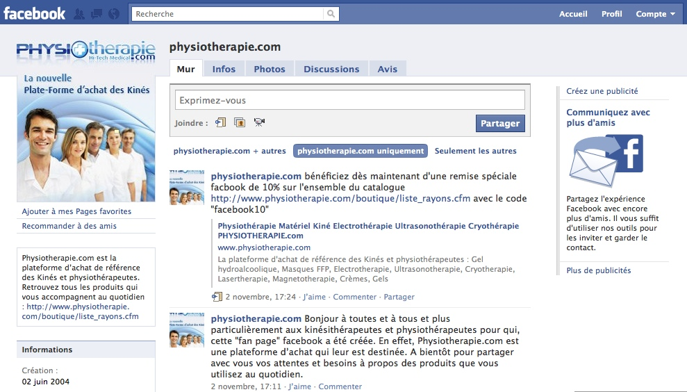 fan page facebook Physiothérapie