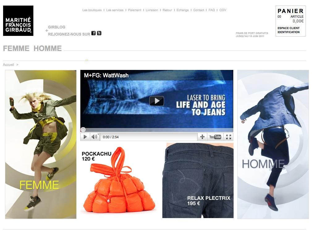 Page d'accueil e-shop M+F Girbaud au lancement