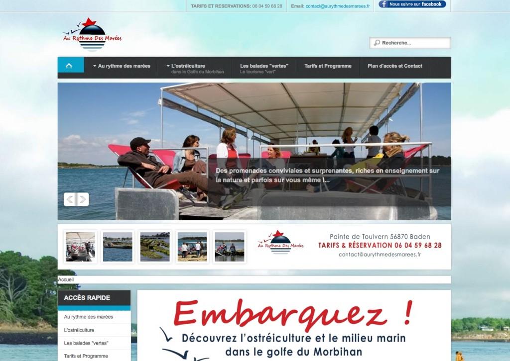 """Page d'accueil du site Web """"Au Rythme des Marées"""""""